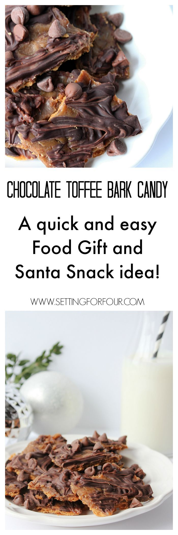 What a delicious and quick to make sweet treat recipe for Saltine Chocolate Toffee Bark Candy! Great DIY food gift and Santa Snack idea! www.setttingforfour.com