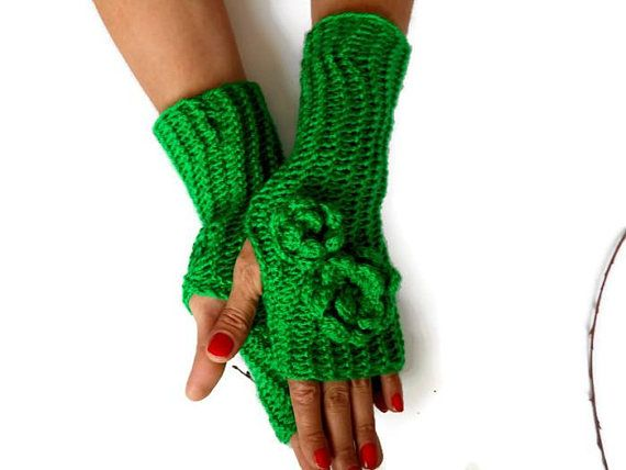 Green Knit Glove, Women Fingerless Glove, Women Knit Glove, Winter Accessories, Handmade Glove, crochet Fingerless, Hand Warmer     Green acrylic gloves.  Made from soft green yarn.  Elegant style gloves.  You can wear this arm warmer with any clothes.  These handheld heaters are soft and comfortable.  It will add elegance to your hand.  The gift may be an alternative.  Maintenance Instruction  Hand wash in warm water, dry.  COLOR:Green  Dimension: Height 12 /// Width 2.5   Del...