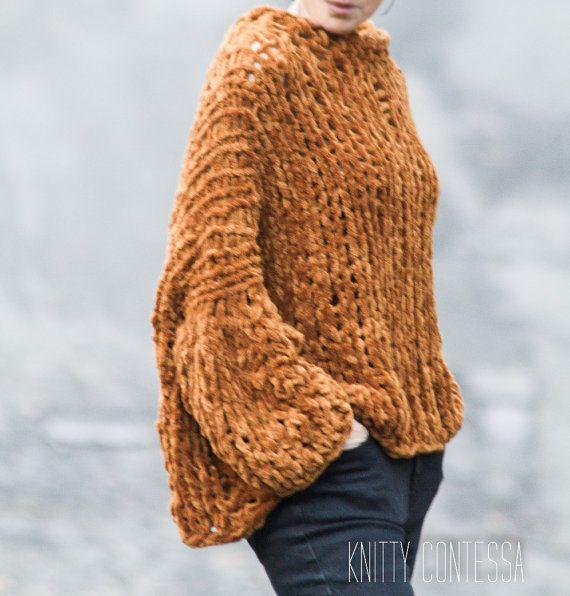 Hand Knit Sweater Chunky Knit Sweater Cozy by TheKnittyContessa