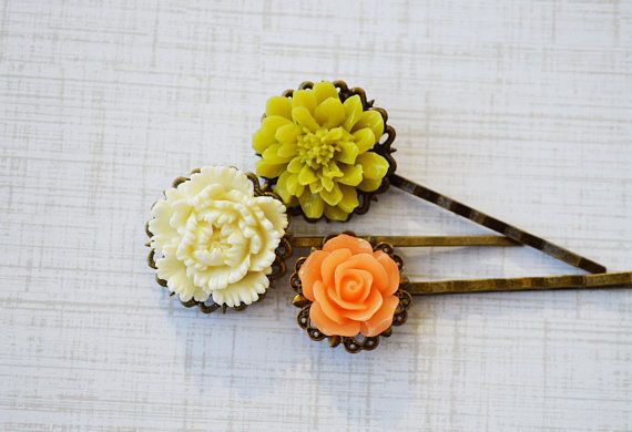 SALE  PICK Your Color  Triple Vintage Bobby Pins Flower Hair
