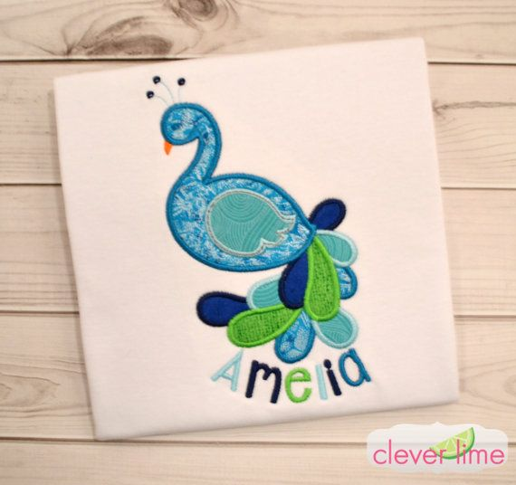Personalized Girls Peacock Shirt by Cleverlime. Finds us on Facebook, Etsy, or www.cleverlime.com!