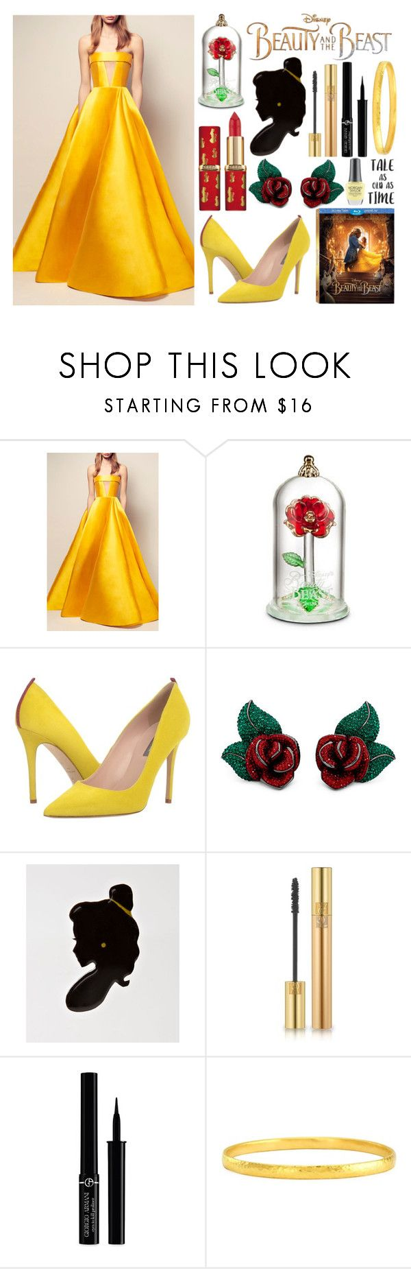"""""""Beauty and the Beast"""" by princess13inred ❤ liked on Polyvore featuring Disney, Alex Perry, SJP, L'Oréal Paris, Yves Saint Laurent, Giorgio Armani, Gurhan and Morgan Taylor"""