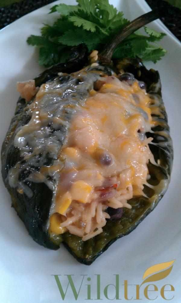 Meatless Monday meal Stuffed Pablano Peppers YUM #recipe  http://whosin.com/recipes: Mmm Food, Meatless Mondays, Skillets Meals, Wildtre Recipe, Peppers Recipe, Mexicans Grill, Pablano Peppers, Wildtr Recipe, Meals Seasons