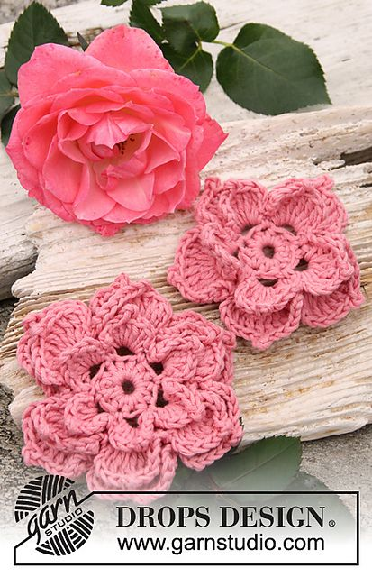 Ravelry: 147-45 Rosa - Rose flowers in Safran pattern by DROPS design