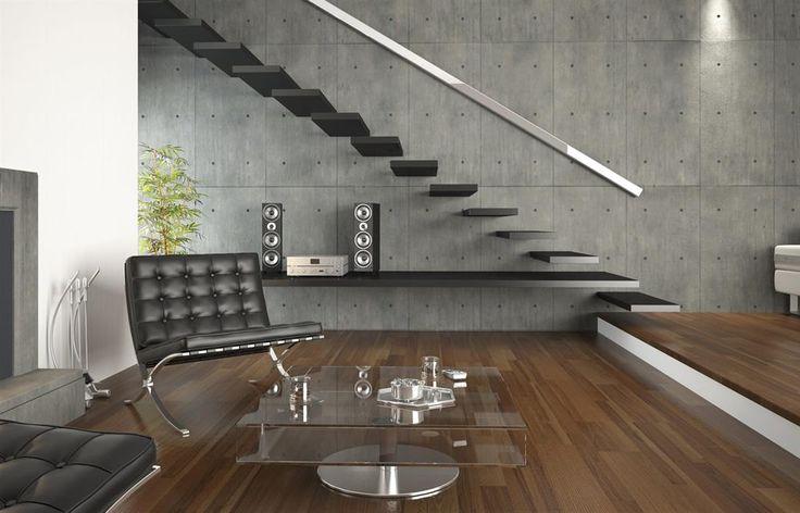 Salon avec escalier noir | escaliers | Pinterest