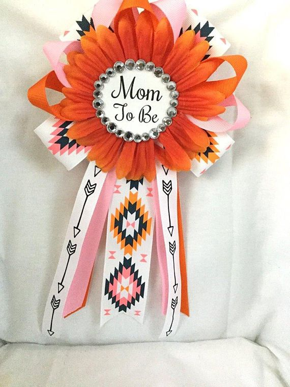 Orange mom to be Badge Pin Baby Bhower Corsage Baby Shower