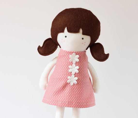 Girl Doll Clothes Pink White Dotted Cotton Dress by RibizliDesign