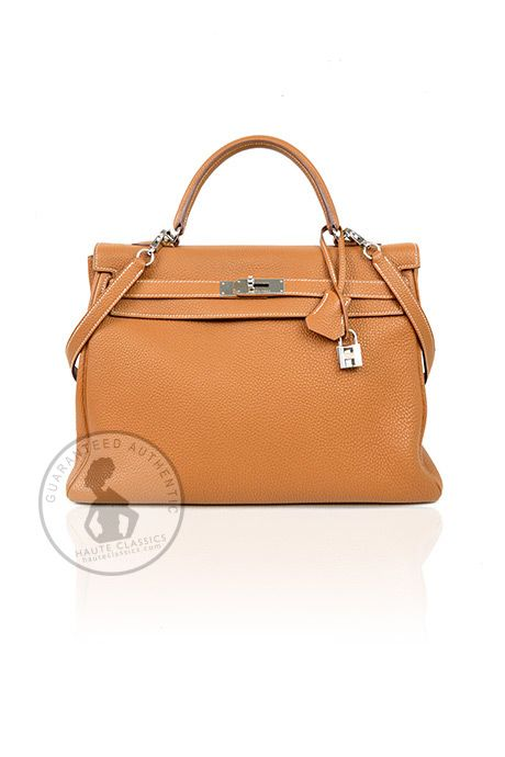 HERMES Camel Leather 35cm Kelly Bag With Silver Hardware - HauteClassics
