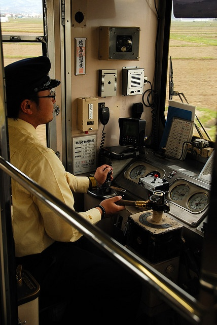 The Japanese train driver and conductor ,Seen in Hirosaki,  Aomori, Japan.