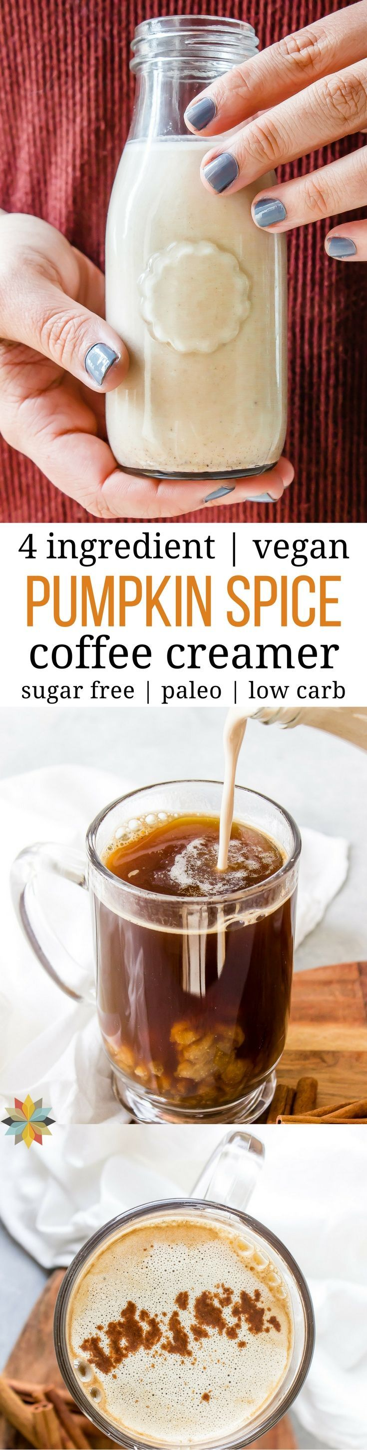 4 Ingredient Vegan Pumpkin Pie Spiced Coffee Creamer - Dairy & Sugar-free! Easy to make and so yummy with low carb and AIP options. THM:S, keto, healthy and paleo via @wholenewmom