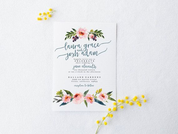 DIY Romantic Wedding Invitation Suite - Rustic, Chic, Watercolor, Painted, Garden, Calligraphy, Invite Kit, Printable (Wedding Design #74)