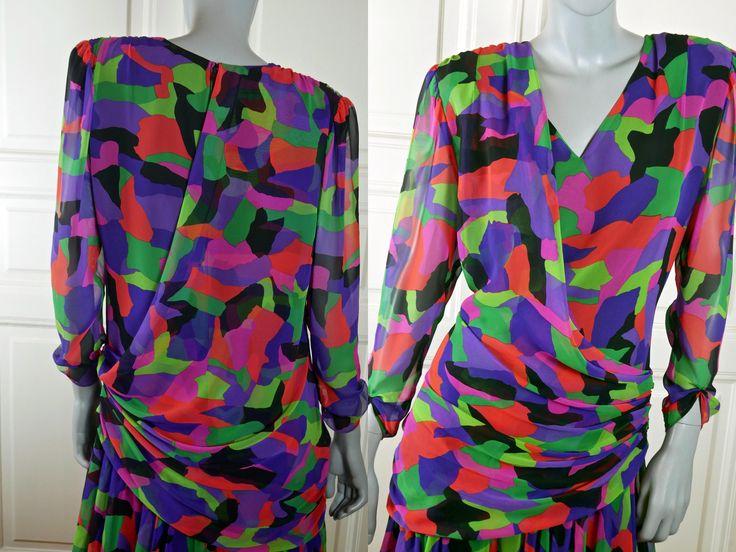 British Vintage 1980s Dress, Knee-Length Red-Orange Purple Lavender Green Black Goddess Draping Princess Diana Casual Dress: 12 US, 16 UK by YouLookAmazing on Etsy