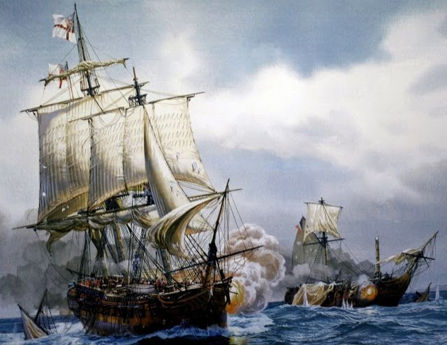 HMS Diana frigate of 38 guns, captures the L' Euphrosyne fracas in the channel. June 1, 1803. More on www.elgrancapitan.org/foro