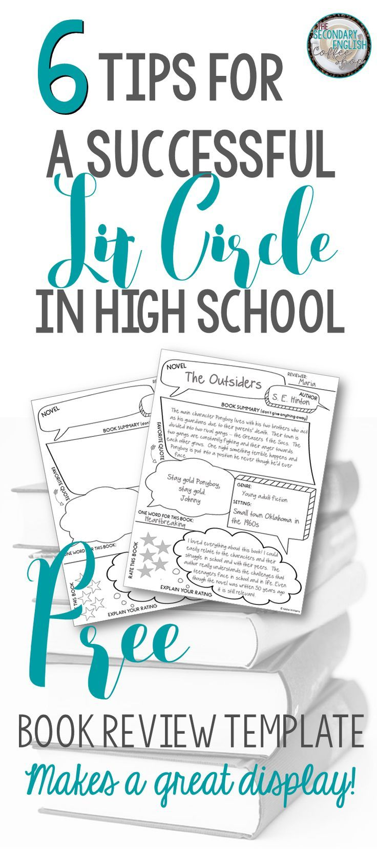 Tips to running a Lit Circle in a Secondary ELA classroom and a FREE book review template!
