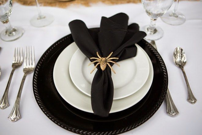 The little gold spider on the napkin is so cute for a Halloween Wedding. I always appreciate the details at the place settings. It's a part of the decor that tends to get over looked.