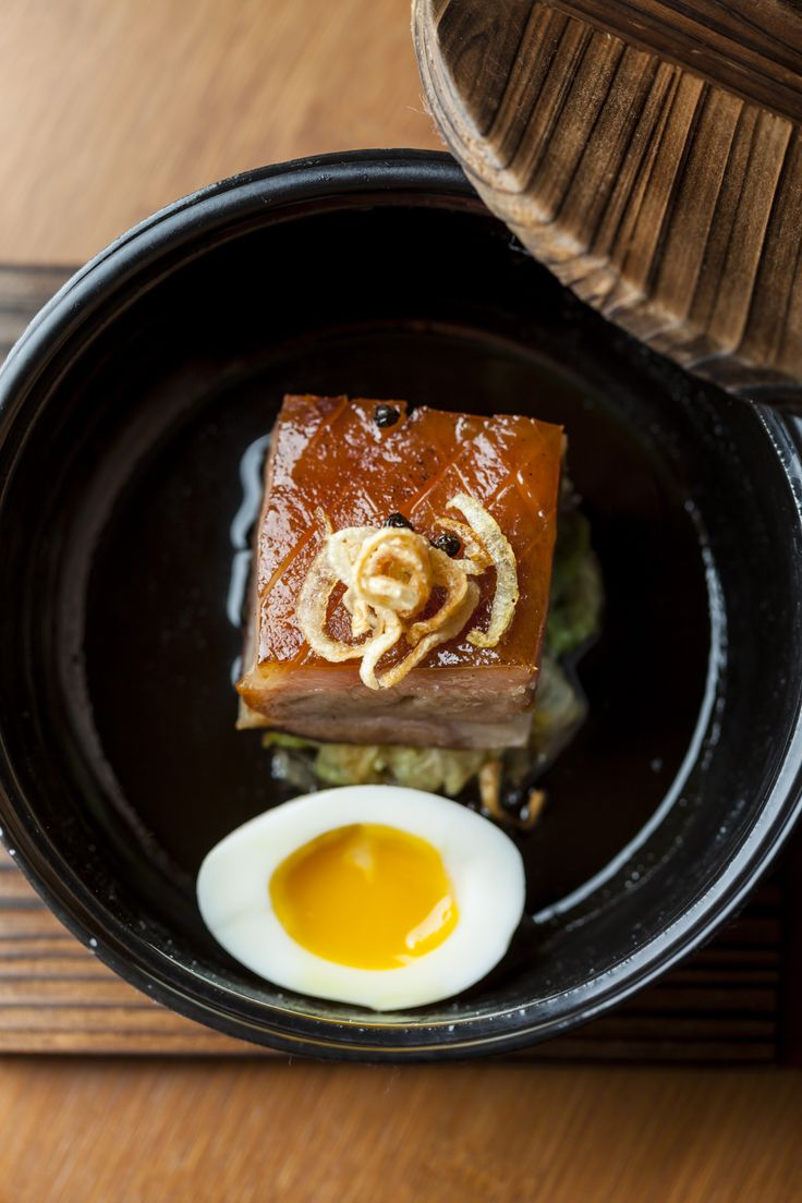 Apple-Smoked Pork Belly, Braised Cabbage, Egg   www.thehouseofho.co.uk #soho #oldcompton #foodporn #bobbychinn