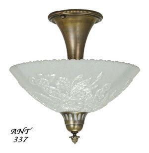 Antique Opal Glass Bowl Shade Ceiling Light Fixture Semi Flush Mount Ant 337 Vintage