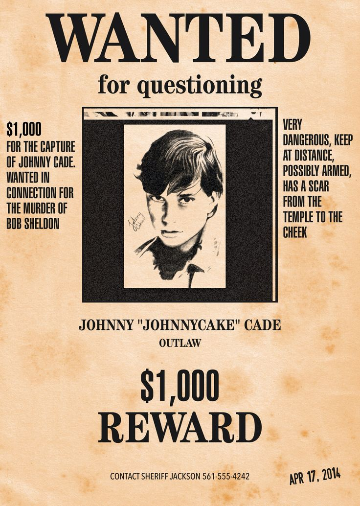 Wanted poster of Johnny using Wanted Poster Pro Outsiders in 2019