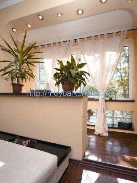 дизайн гостиной соединенной с балконом