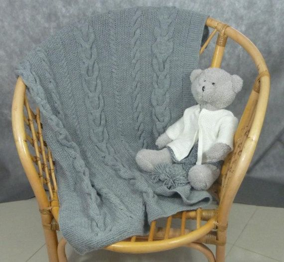 Hand made knit baby blanket; blanket for the stroller