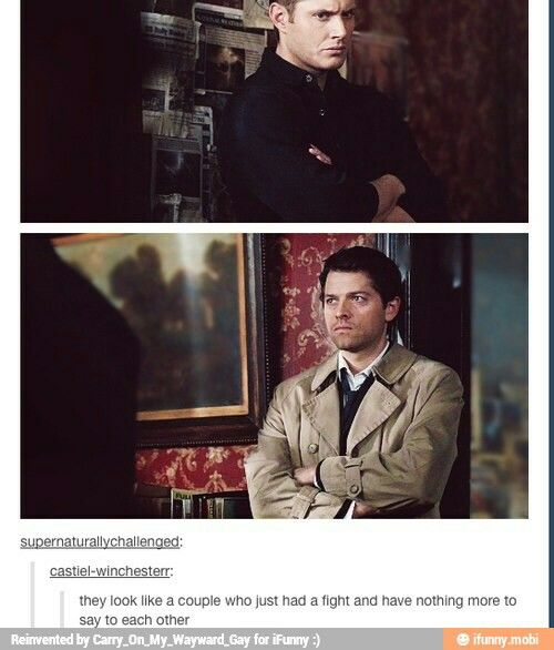 ''They look like a couple who just had a fight and have nothing more to say to each other.'' / Dean & Cas :)