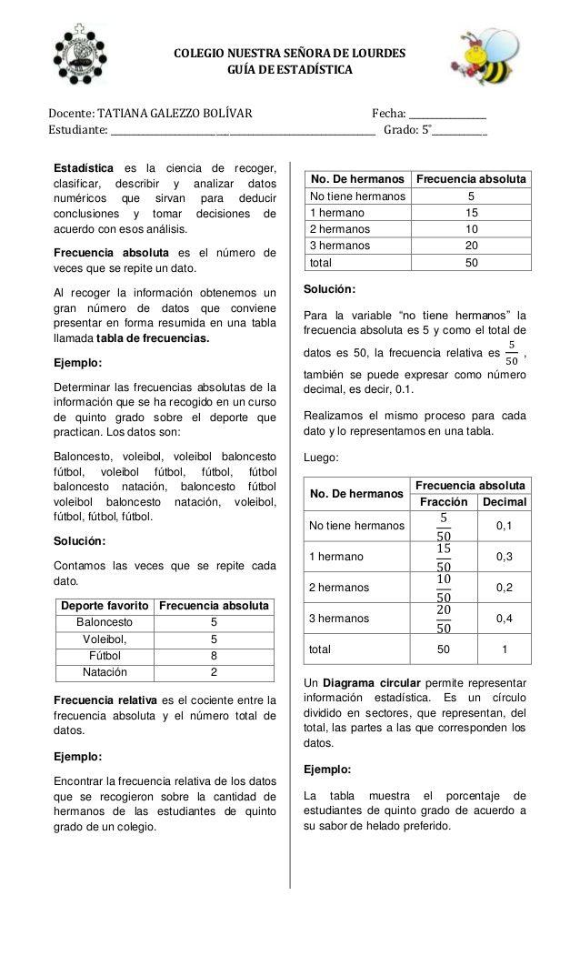 COLEGIO NUESTRA SEÑORA DE LOURDES                                  GUÍA DE ESTADÍSTICADocente: TATIANA GALEZZO BOLÍVAR    ...