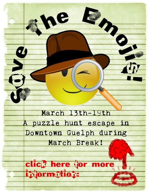 Fantescapes Escape Room Guelph Save the Emojis Puzzle March Break 2017