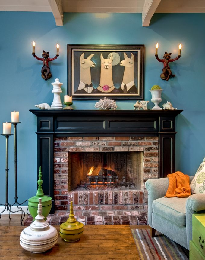 warm, fun fireplace: Wall Colors, Flames, Fireplaces Mantels, Zillow Dig, Brick Fireplaces, Interiors Design, Wall Sconces, Eclectic Living Rooms, Foxes