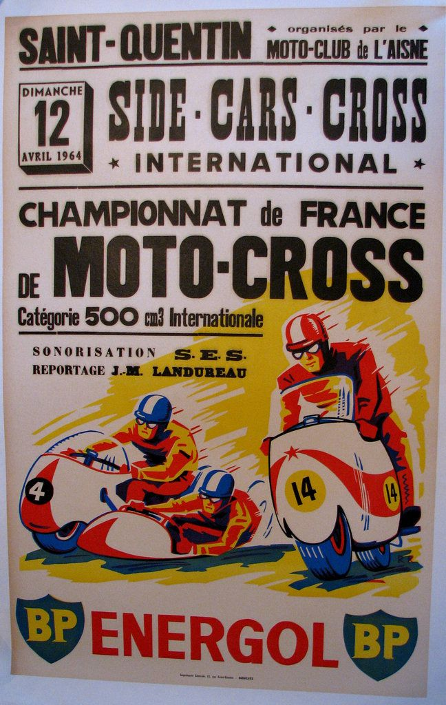 1964 French Motorcycle Side Car Cycle Racing Vintage Poster