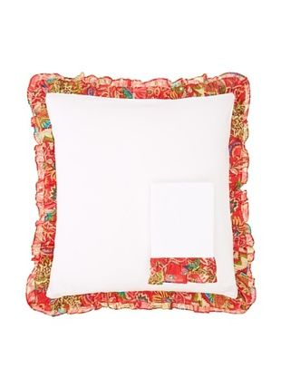 75% OFF India Rose Set of 2 Kathryn Euro Shams, White/Red
