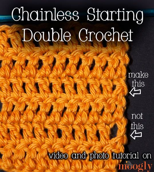 Chainless Starting Double Crochet : Video and Photo Tutorial (Now don't get this stitch confused with the Standing Double Crochet! They perform the same function – getting rid of the conspicuous starting or joining chain 3. But they are used in 2 different situations. )