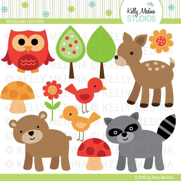 Woodland Animals - Clip Art Set - Digital Elements Commercial use for Cards, Stationery and Paper Crafts and Products