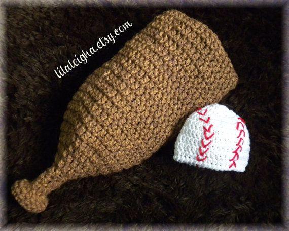 Baseball Hat and Cocoon Set - Newborn Baby Boy Baseball Photography Prop - Crochet Baseball Bat Cocoon with Baseball Hat