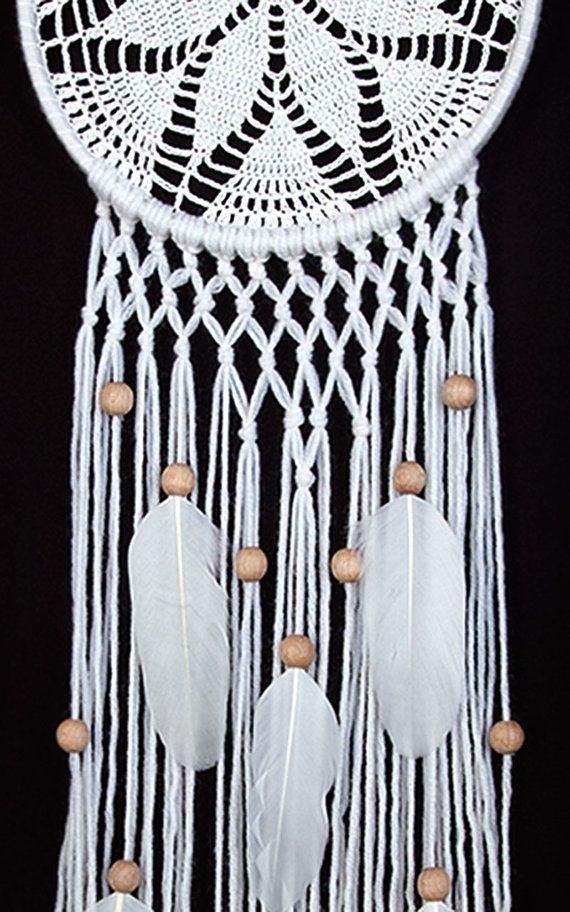 White Dream Catcher gehaakt kleedje van DreamcatchersUA op Etsy