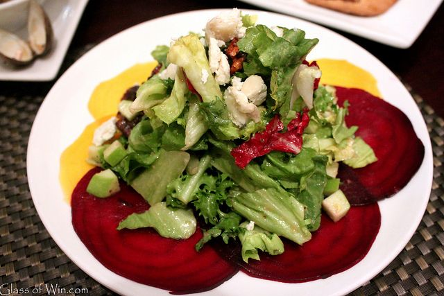 Beet Salad with baby greens, candied walnuts, goat cheese, apples ...
