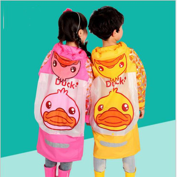 Cute PVC Durk children raincoat for children's gifts Waterproof 2017 New Arrival Fashion Long Rain Poncho Transparent Rain Cover