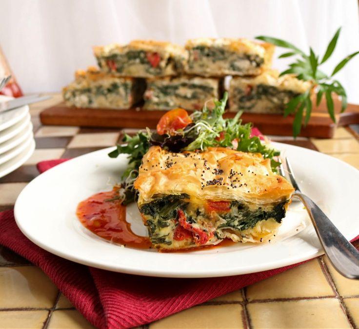spinach, feta & sun dried tomato filo pie