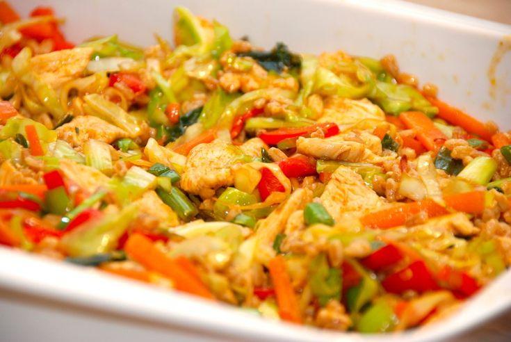 Se her hvordan du laver en sund og lækker ret med lynstegt kylling med spidskål, gulerødder, hvidløg, forårsløg og en lækker soyadressing.