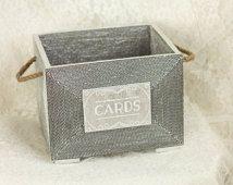 Wedding Card box basket,wedding program basket, Card box wedding, MEDIUM Rustic wedding, burlap card holder - love vintage unique