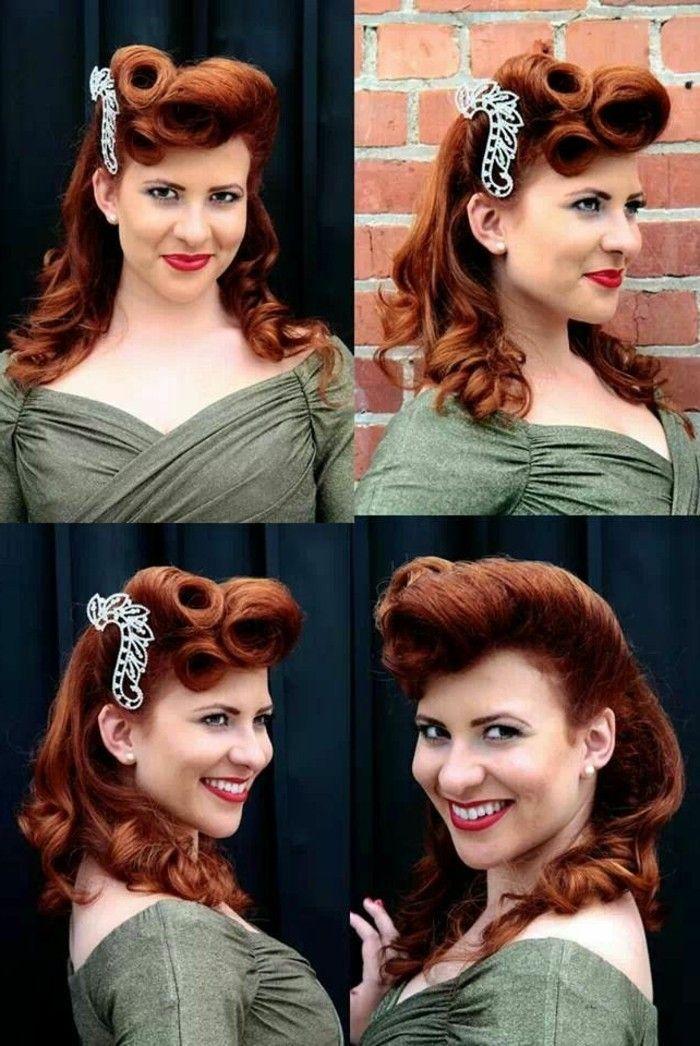 011bb5ad7f056 look-anni-50-donna-sorridende-capelli-color-rame-pin-up-stile -rockabilly-vestito-verde-oliva-elegante