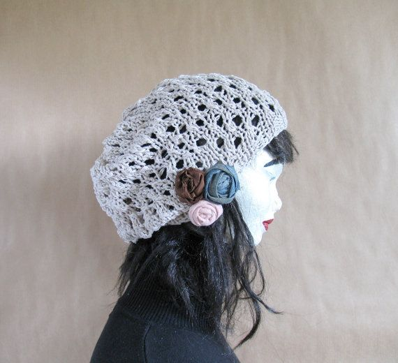 Lace Knit Tam Dreads Hat Oversized Beret Slouchy by recyclingroom, $28.00