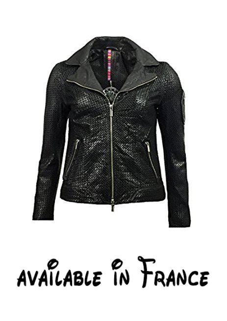 B01NBGC9OL : MILESTONE - Blouson - Veste en cuir - Femme noir Schwarz -  noir -