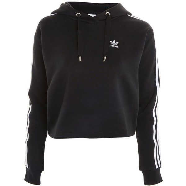 Three Stripe Hoodie by Adidas Originals ($84) ❤ liked on Polyvore featuring tops, hoodies, black, shirts, sweaters, stripe top, topshop hoodies, striped hoodies, sweatshirt hoodies and stripe hoodie