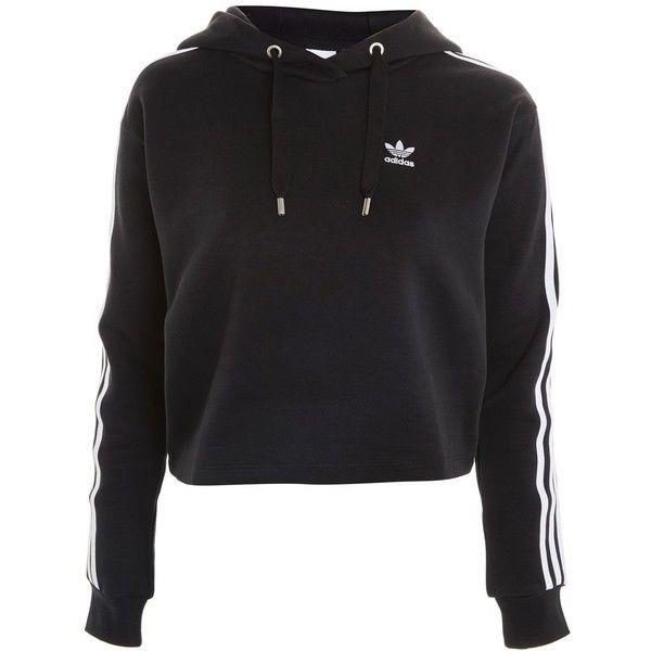 Three Stripe Hoodie by Adidas Originals (€72) ❤ liked on Polyvore featuring tops, hoodies, black, jumpers, hooded pullover, stripe hoodie, adidas top, adidas and striped hoodie