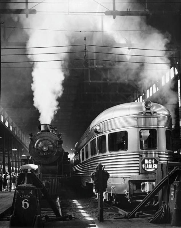 Vintage B&W Train Photo by Andreas Feininger --- Trains go by my house every day and night. The sounds are very soothing to me for that reason. I wish I had a CD recording of them all!