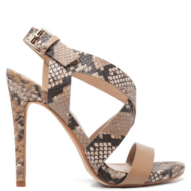 Camel high-heel sandal with snakeskin texture, thin heel and ankle straps.