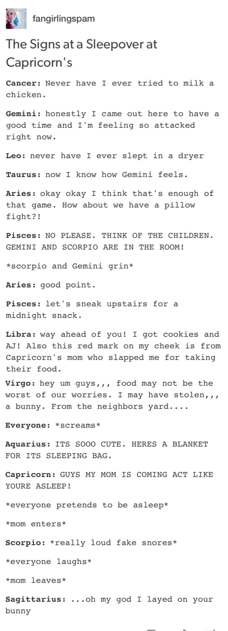 Virgo-oh now this is funny AF, now I need a Sleepover at Cap's