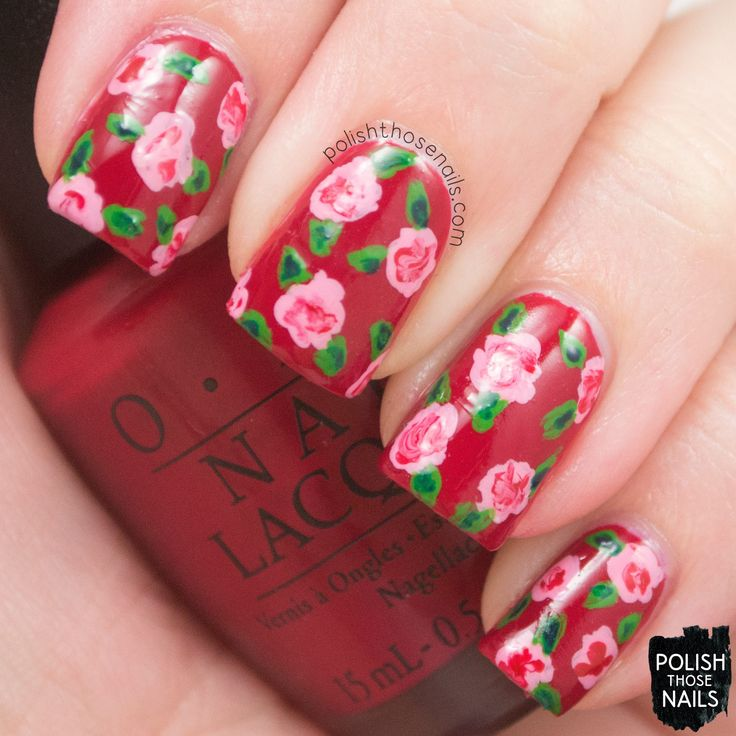 #polishthosenails, #opi, #starlightcollection, #presssample, #nailart, #floral, #flowers, #red, #loveisinmycards