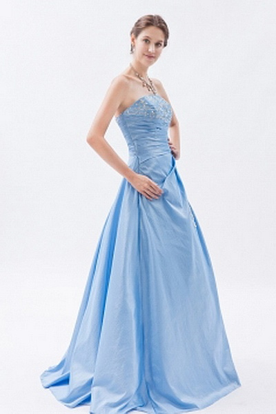 Blue A-Line Sweetheart Prom Gowns ted1872 - SILHOUETTE: A-Line; FABRIC: Taffeta; EMBELLISHMENTS: Applique , Beading , Crystal , Ruched; LENGTH: Floor Length - Price: 159.7300 - Link: http://www.theeveningdresses.com/blue-a-line-sweetheart-prom-gowns-ted1872.html