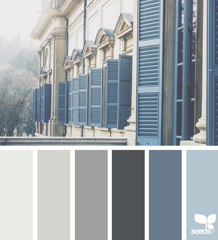 exterior theme: light blue shutters, dark grey siding